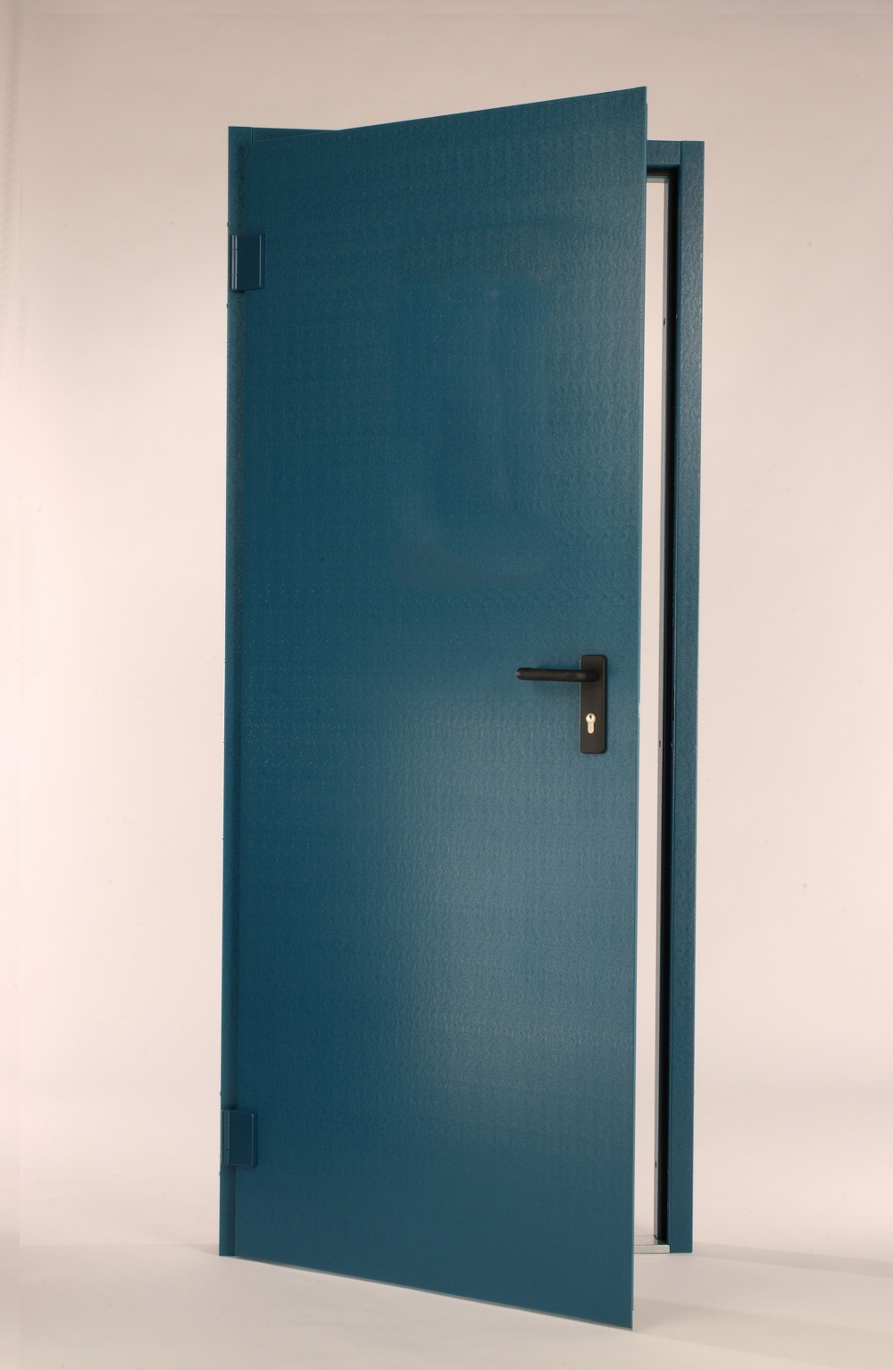 G15 steel door in Ocean Blue plastisol with adjustable hinges, mortice lock and lever handles. Other options are available