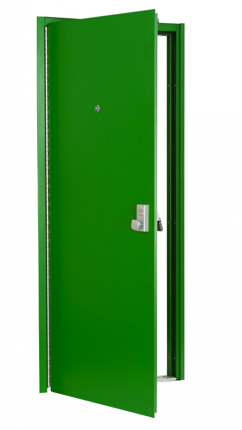 G20 steel door with optional continuous hinge, panic bar, outside operator and door viewer. Other options are available