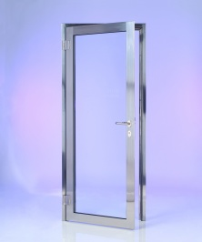 SG20 glass single doorset in mirror polished stainless steel. Toughened glazing, mortice lock and lever handles. Other options are available